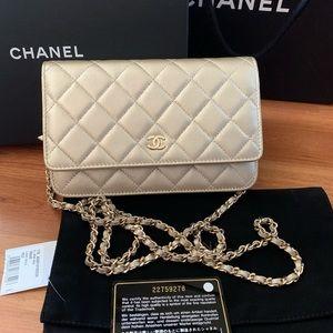 Chanel Gold Nude Leather Woc Cross Body CC HandBag
